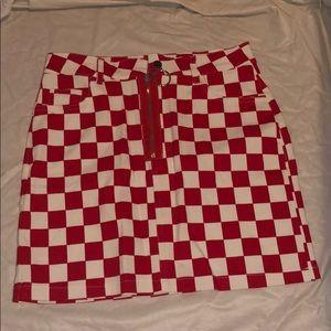 Red And White Checkered Skirt